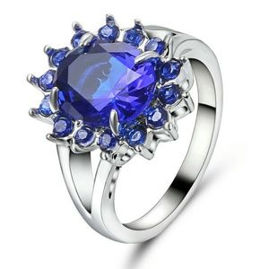 Blue Sapphire CZ 10Kt White Gold Filled Jewelry - Blue Sapphire CZ 10Kt White Gold Filled